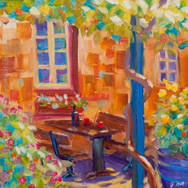 "DP100 ""Al Fresco Hahndorf"" Original Oil on Panel Painting by Jacqueline Hill"