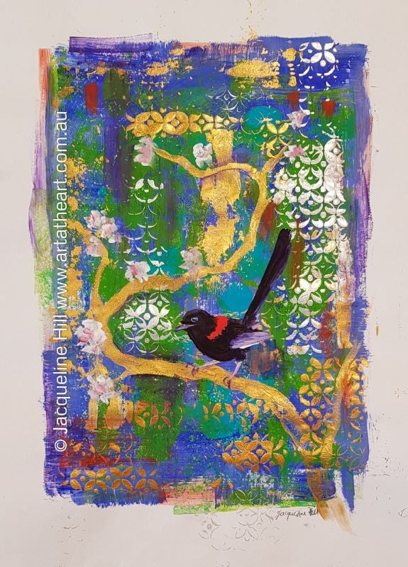 "DA246 ""Wren Flies East"" Original Mixed Media (acrylic and pastel) Painting apx 29x42cm plus frame by Jacqueline Hill"