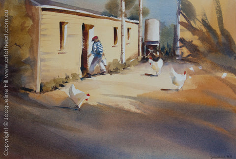 """Afternoon Chores"" Original Watercolour Painting by Jacqueline Hill [OR032]"