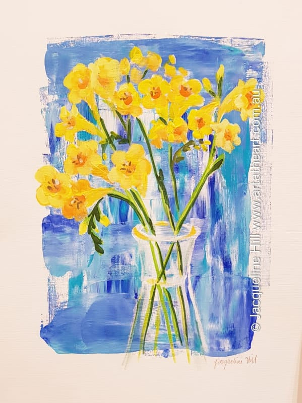"DA231 ""Yellow Freesias"" Original Acrylic Painting by Jacqueline Hill"