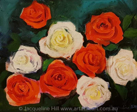 "DA196 ""Wedding Waltz"" (Rose Dance II) Original Acrylic Painting apx 12x10"" / apx 30x24cm by Jacqueline Hill"
