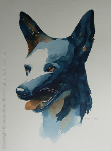 """Dog III "" Original Watercolour Painting by Jacqueline Hill [OR080]"