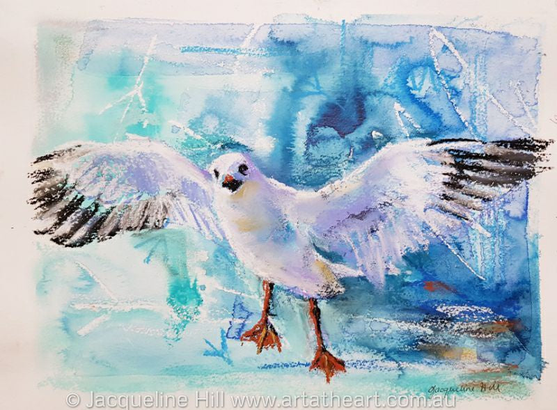 "DA154 ""Seagull in Flight"" Original Mixed Media by Jacqueline Hill"