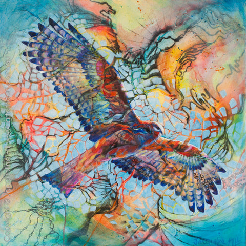 """Altitude (Square-tailed Kite)"" Original Acrylic Painting by Jacqueline Hill [OR308]"