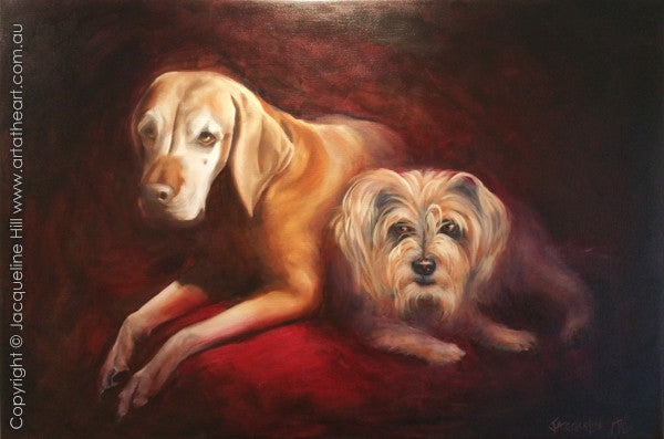 """Tassie and Josie"" Original Oil on Linen 36x24"" (90x60cm) Painting by Jacqueline Hill [OR271]"