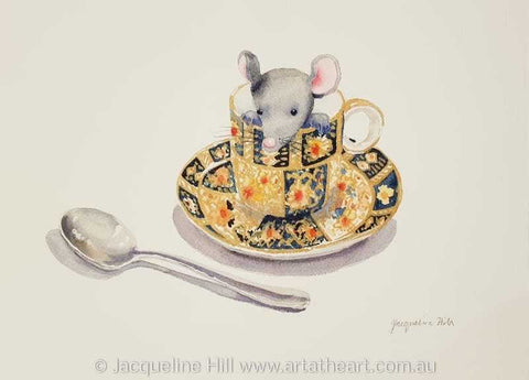 "DA162 ""Tea With Friends I"" (Mousie) Original Watercolour Painting apx 36x26cm by Jacqueline Hill"