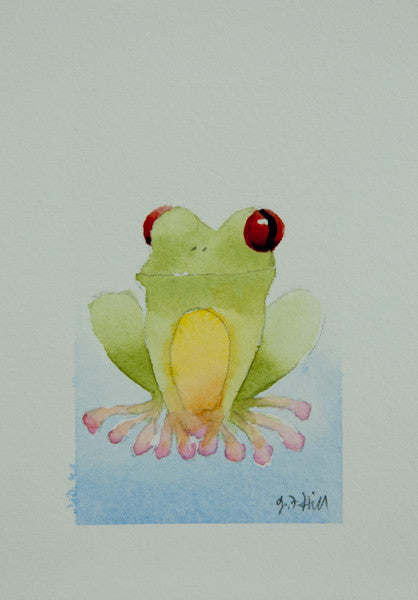 """Froggy XIV"" Original Watercolour Painting by Jacqueline Hill [OR018]"