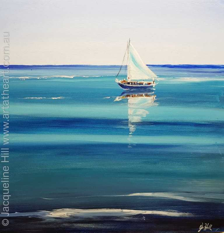 "DA186 ""Becalmed"" (Yacht) Original Acrylic Painting by Jacqueline Hill"