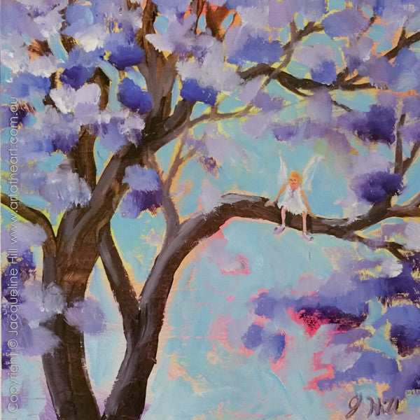 "DP300 ""The Jacaranda Fairy"" Original Oil on Panel Painting by Jacqueline Hill"