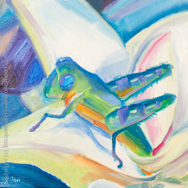 "DP076 ""Grasshopper"" Original Oil on Panel Painting by Jacqueline Hill"