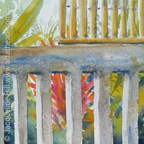 "DA085 ""Bali Balustrade"" Original Watercolour Painting by Jacqueline Hill"