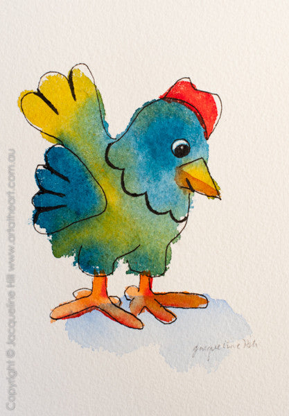 """Chicken Little II"" Original Ink and Watercolour Painting by Jacqueline Hill [OR244]"