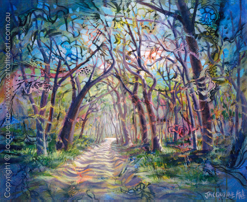 """Forest Road"" Original Acrylic Painting by Jacqueline Hill [OR251]"