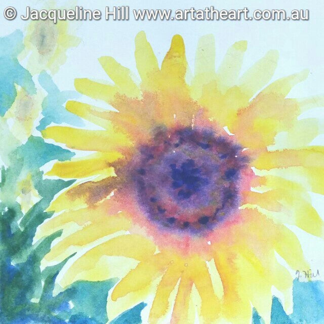 "DA012 ""Funflower (Sunflower)"" Original Watercolour Painting apx 6x6"" / 15cm sq by Jacqueline Hill"