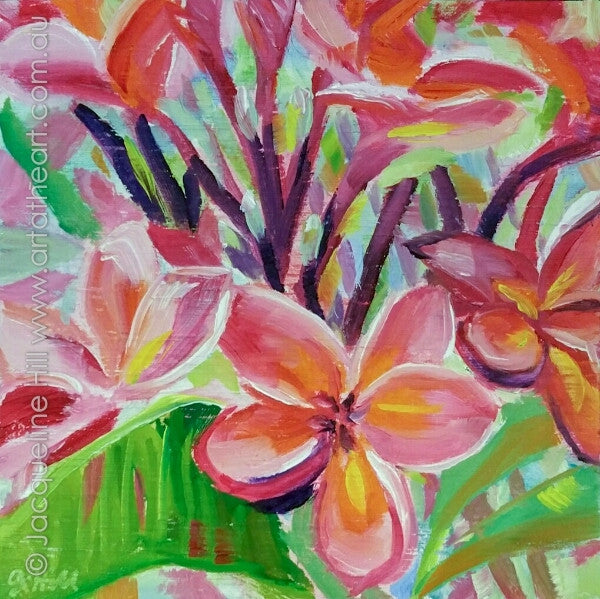 "DP344 ""Royal Pink"" (Frangipani) Original Oil on Panel Painting by Jacqueline Hill"