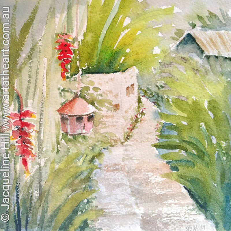 "DA088 ""Bali Pathway"" Original Watercolour Painting apx 6x6"" / 15cm sq by Jacqueline Hill"