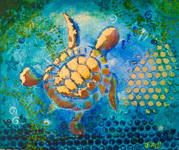 """Baby Turtle"" Original Mixed Media Painting by Jacqueline Hill [OR015]"