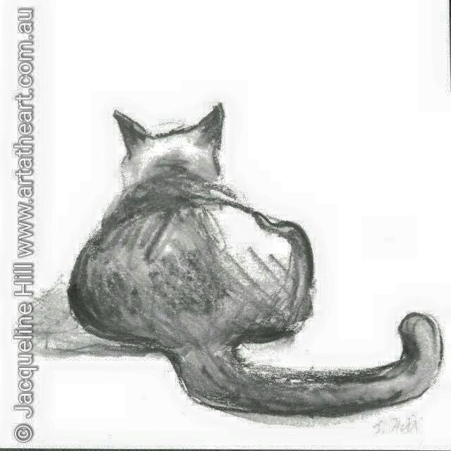 "DA051 ""Lounge Puss (III)"" Original Water Graphite Painting apx 6x6"" / 15cm sq by Jacqueline Hill"