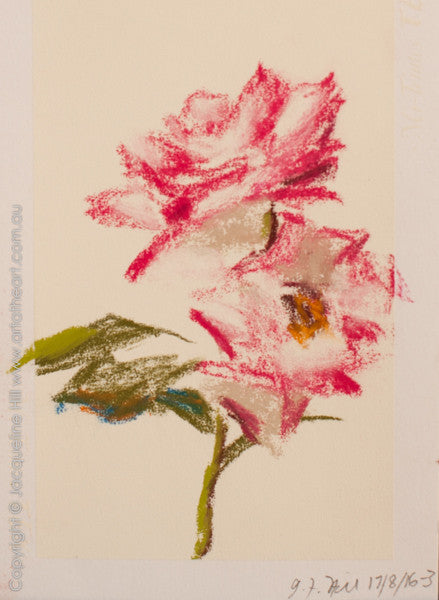 """Miniature Roses"" Original Pastel by Jacqueline Hill [OR317]"