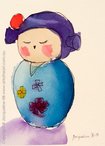 """Kokeshi VII"" Original Watercolour Painting by Jacqueline Hill [OR121]"