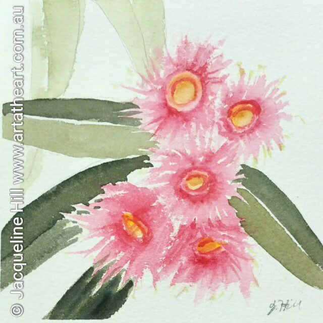"DA038 ""Song of Spring (Gum Blossoms)"" Original Watercolour Painting apx 6x6"" / 15cm sq by Jacqueline Hill"
