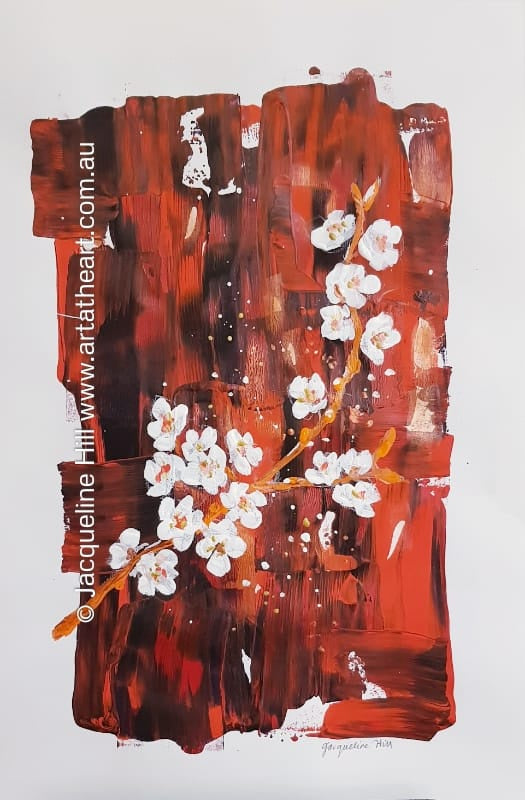 "DA229 ""White Blossoms"" Original Framed Acrylic Painting by Jacqueline Hill"