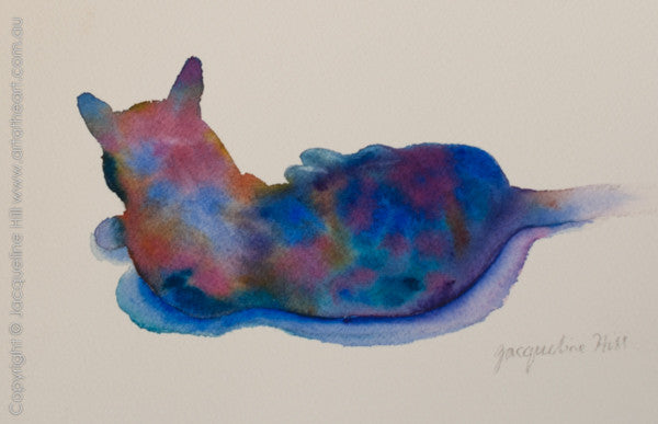 """Cat mini (colourful)"" Original Watercolour Painting by Jacqueline Hill"
