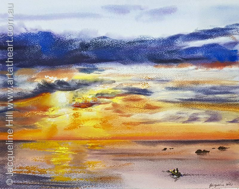 "DA114 ""Ocean Fire"" Original Watercolour and Pastel Painting apx 11x8"" / 28 x 22cm by Jacqueline Hill"