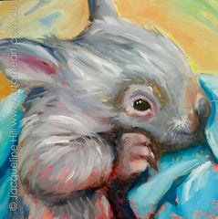 "DP365 ""Little Mia"" (Baby Wombat VII) Original Oil on Panel Painting by Jacqueline Hill"