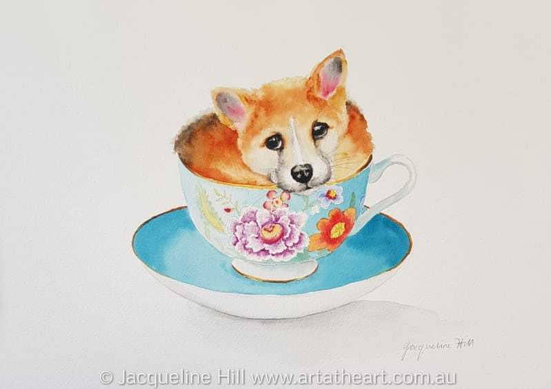 "DA180 ""Tea With Friends XIX"" (Logan the baby dingo) Original Framed Watercolour by Jacqueline Hill"