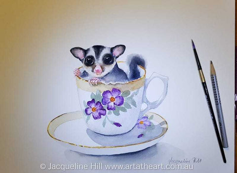 "DA174 ""Tea With Friends XIII"" (Millie the Sugar Glider) Original Watercolour Painting by Jacqueline Hill"