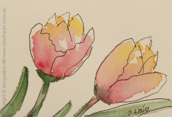 """Tulips Mini"" Original Ink & Watercolour Painting by Jacqueline Hill [OR383]"