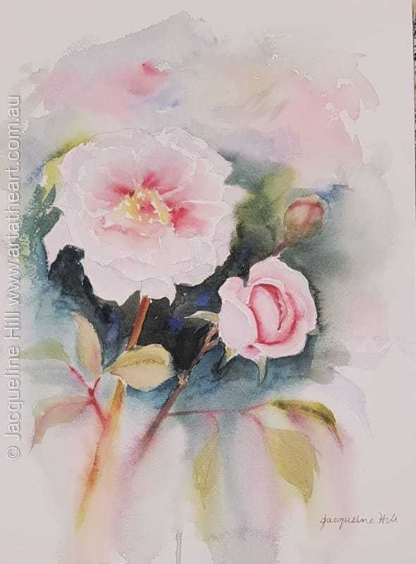 "DA134 ""Pink Romances - Roses"" Original Watercolour Painting apx 26x36cm by Jacqueline Hill"