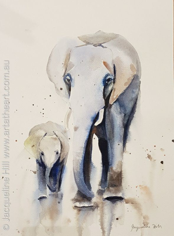 "DA128 ""Elephant Walk"" Original Framed Watercolour Painting by Jacqueline Hill"