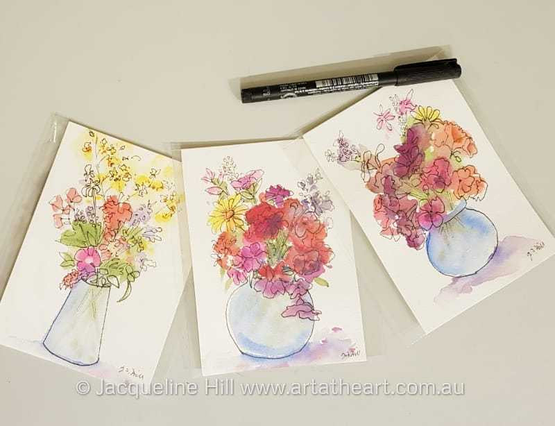 "DA160A ""Flowers from Christine's Garden I-iw"" Original Watercolour and Ink by Jacqueline Hill [OR]"