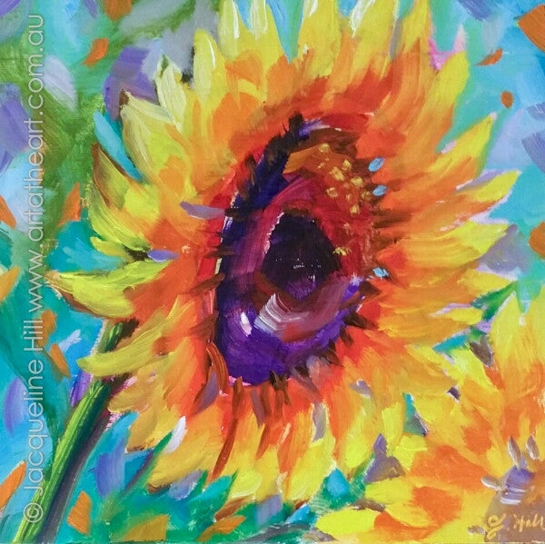 "DP346 ""Summer Smile"" (Sunflower) Original Oil on Panel Painting by Jacqueline Hill"