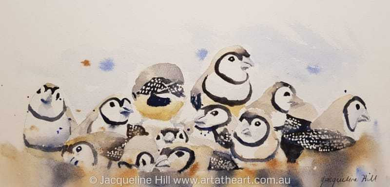 "DA151 ""A Mess of Finches"" Original Watercolour Painting apx 12x6"" / 30x15cm by Jacqueline Hill"