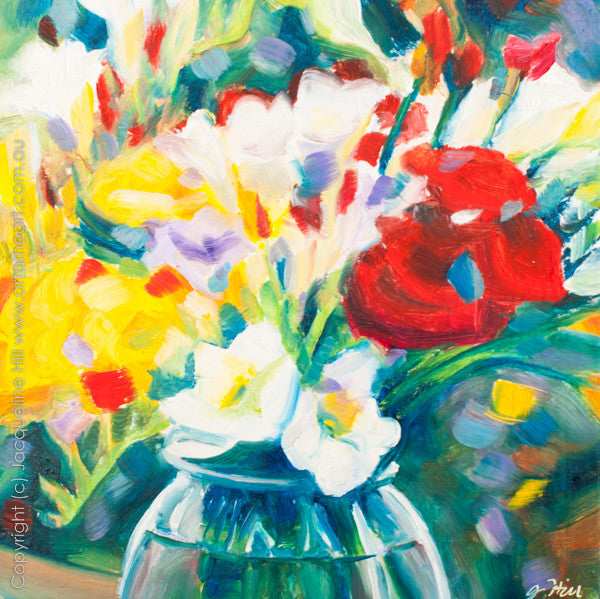 "DP072 ""Freesia Joy"" Original Oil on Canvas Panel Painting by Jacqueline Hill"