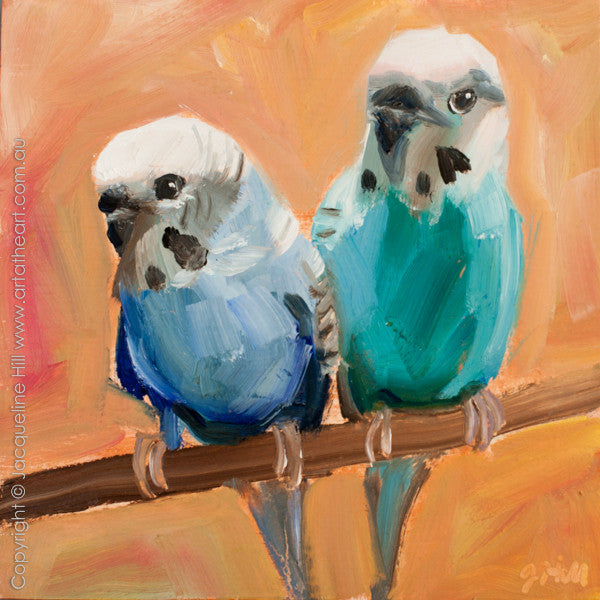 "DP283 ""Budgies"" Original Oil on Panel Painting by Jacqueline Hill"