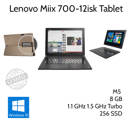 Lenovo IdeaPad Miix 700 Intel Core M5 1.1Ghz 8GB Ram 256GB SSD - Refurbished