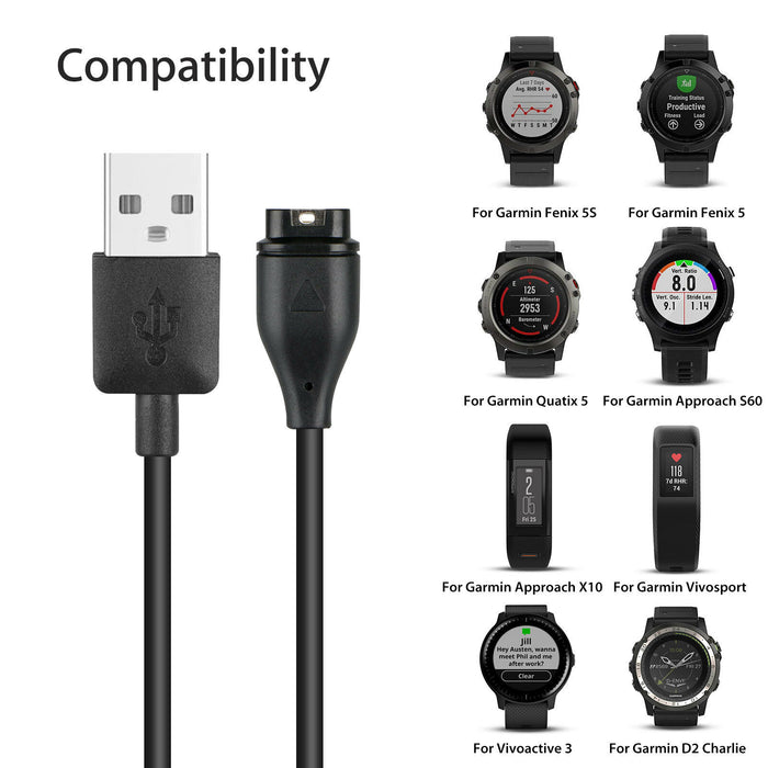 Garmin Smartwatch Replacement Charger Cable USB 1M (Black) - Accessories