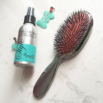 Brushes - Classic Silver Bristle Hair Brush And Pro Shine Set