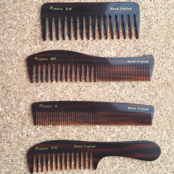 Set of 4 Hand-Crafted Combs - Creative Professional Hair Tools