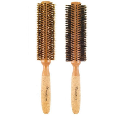"Eco-Friendly Extended 6"" Long Cork Barrel Round Hair Brush - Creative Professional Hair Tools"