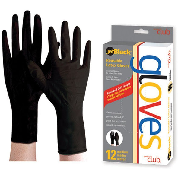 Reusable Gloves-Jet Black-12 CT - Creative Professional Hair Tools