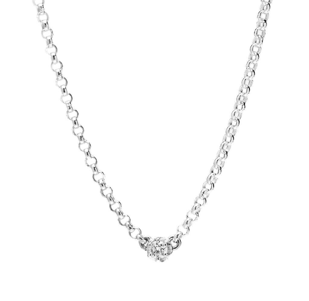 Lucy and Mui Seis Classic Diamond Necklace in White Gold