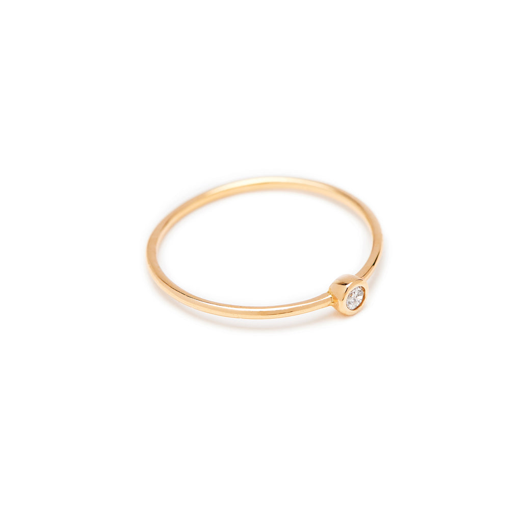 Lucy and Mui Bead Diamond Ring in Gold Stackable Ring
