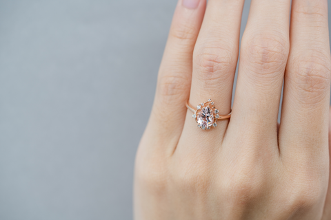 Aspen Morganite Diamond Ring Rose Gold