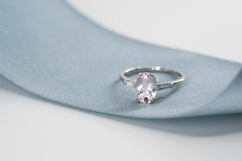 Emerson Morganite Tapered Diamond Ring