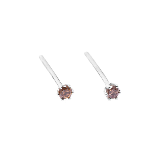 Seis Classic Diamond Earrings // White Gold